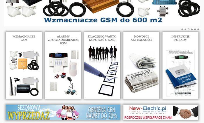 strona www New-electric - wzmacniacze i anteny GSM