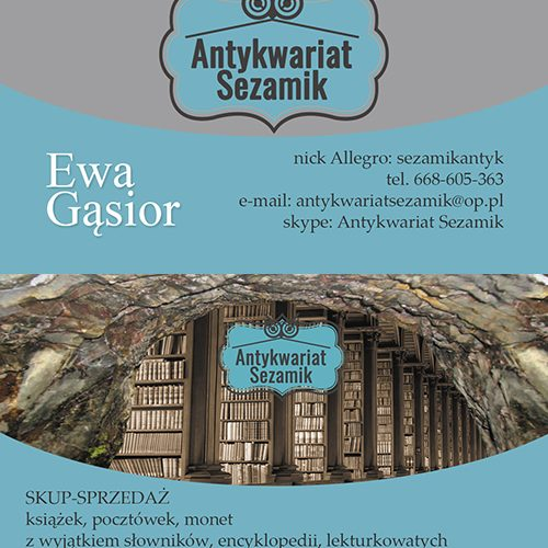wizytowka Antykwariat Sezamik